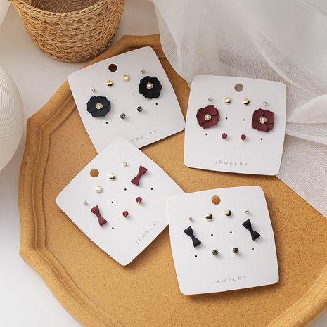 pierced bowknot pearl rhinestone flower simple earrings set NHMS268617's discount tags