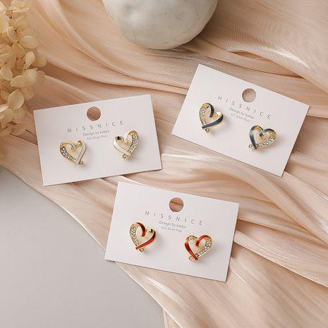 Twisted heart-shaped flashing diamond simple sweet earrings NHMS268622's discount tags