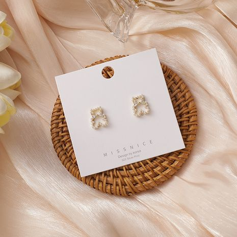 Cute bear small and versatile pearl micro-inlaid zircon earrings NHMS268634's discount tags