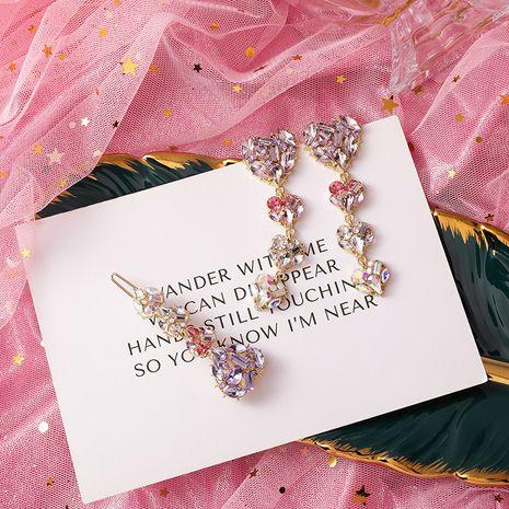 Fashion heart-shaped transparent pink diamond earrings  NHMS268637's discount tags