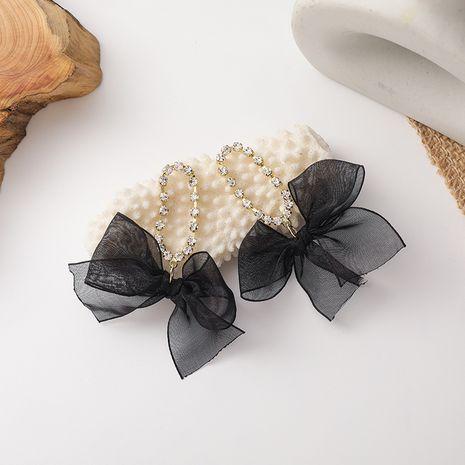 Boucles oreilles rétro en organza noir à pompons longs et diamants NHMS268640's discount tags