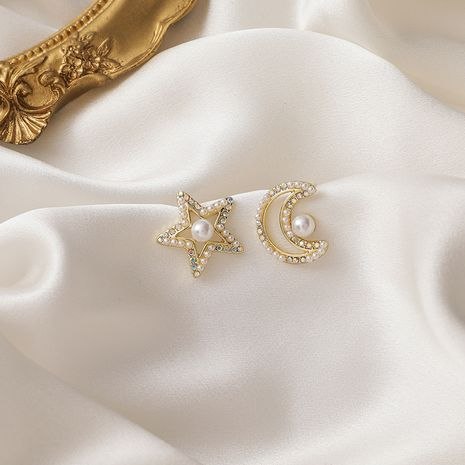 Star Moon Asymmetric Laser Pearl Colorful Rhinestone 925 Silver Needle Earrings  NHMS268642's discount tags