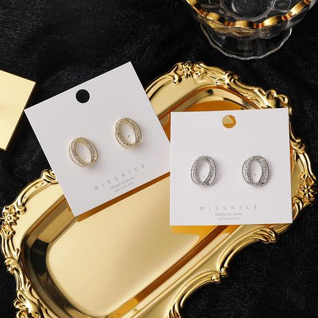 925 silver needle oval French retro simple rhinestone earrings NHMS268645's discount tags