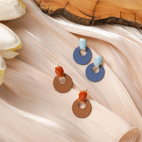 brown milk tea color irregular dripping round retro short earrings NHMS268647's discount tags