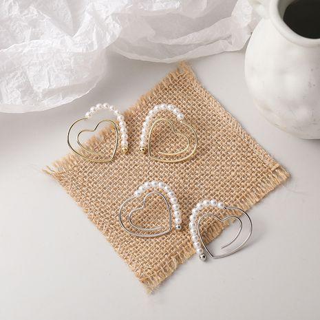 Korean 925 Silver Needle Double Heart Hollow Pearl Geometric Stud Earrings NHMS268649's discount tags
