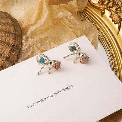 925 silver needle colorful crystal bow sweet simple beaded crystal stud earrings NHMS268653's discount tags