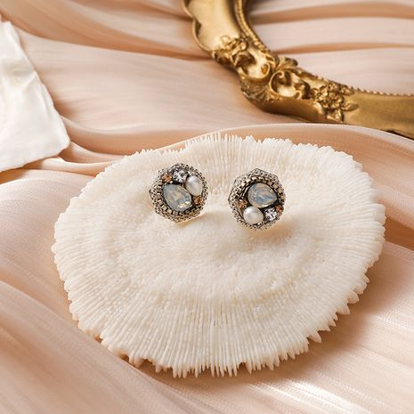 925 silver needle Korean retro handmade pearl colorful crystal round earrings NHMS268654's discount tags