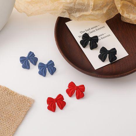 Korean 925 silver needle retro sweet paint bow earrings NHMS268655's discount tags