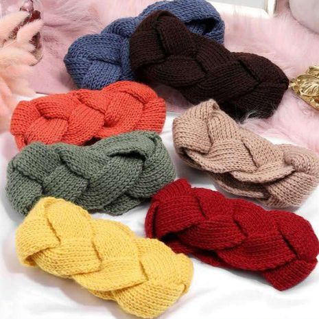 hand-knitted twist braided wide hairband NHDQ268662's discount tags
