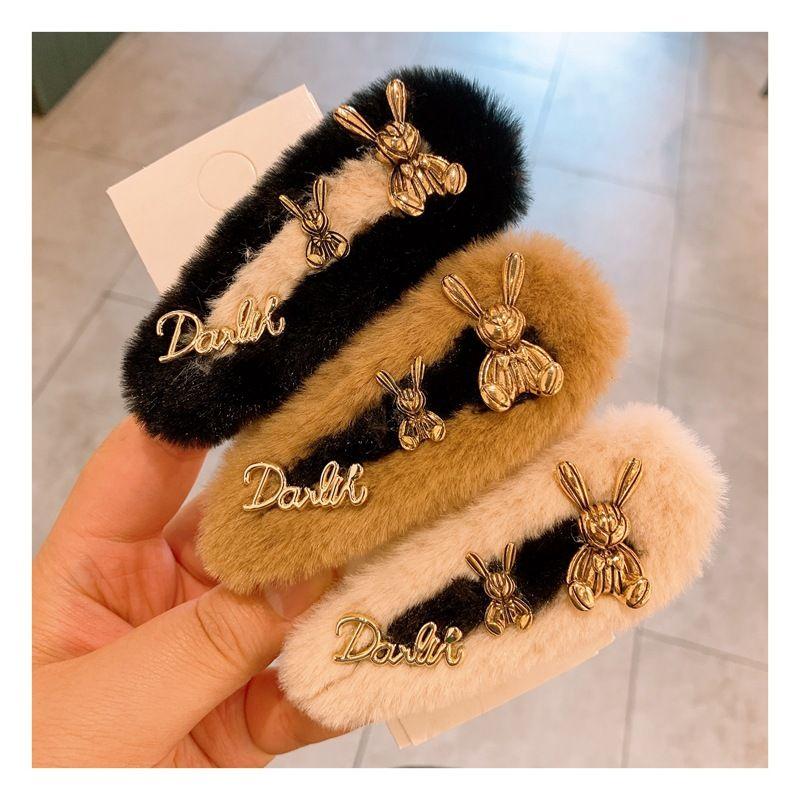 Korea's new imitation fur rabbit  pearl  side clip  NHHD268671