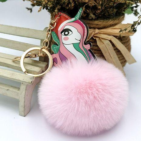 llavero creativo de la bola de la piel del unicornio del cuero de la PU NHDI268701's discount tags