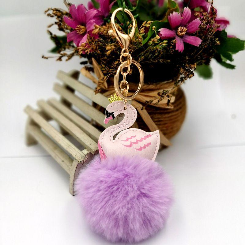 creative PU leather swan fur ball keychain NHDI268702
