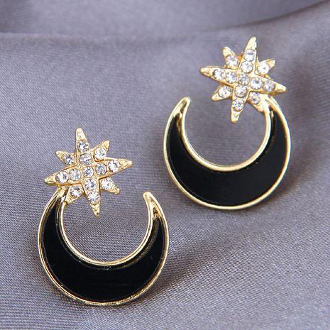 fashion metal flashing diamond star moon stud earrings NHSC269299's discount tags