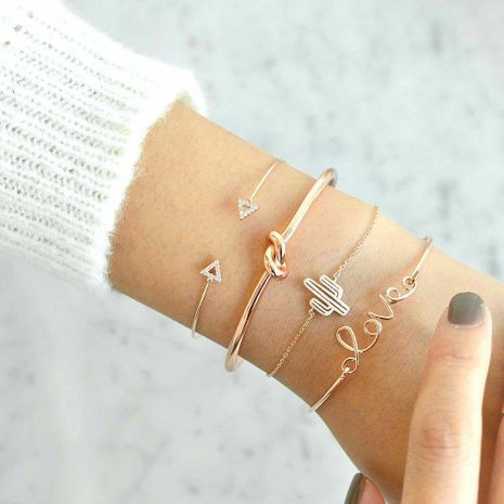 Popular triangle knotted LOVE letter cactus women's bracelet set  NHAJ268745's discount tags