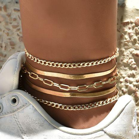 Ensemble de cheville de mode populaire de perle de chaîne en métal multicouche pour femmes NHAJ268757's discount tags
