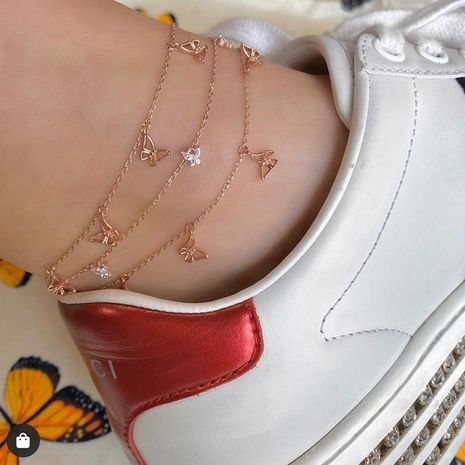 Women's Butterfly Multilayer New Fashion Anklet NHAJ268758's discount tags