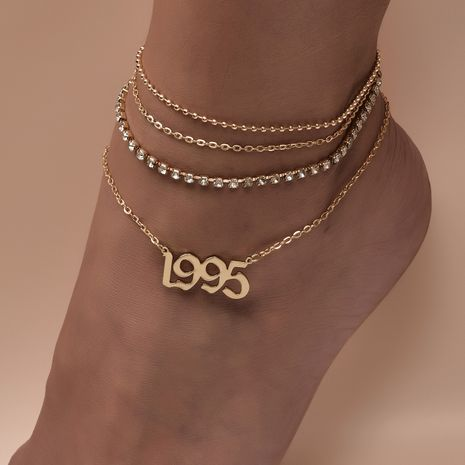 fashion women's simple letter anklet  NHAJ268760's discount tags