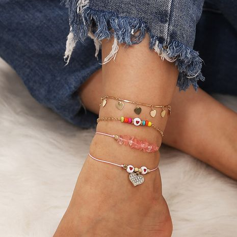 Bohemian gravel woven multi-layer heart-shaped rice bead anklet set NHLA268786's discount tags
