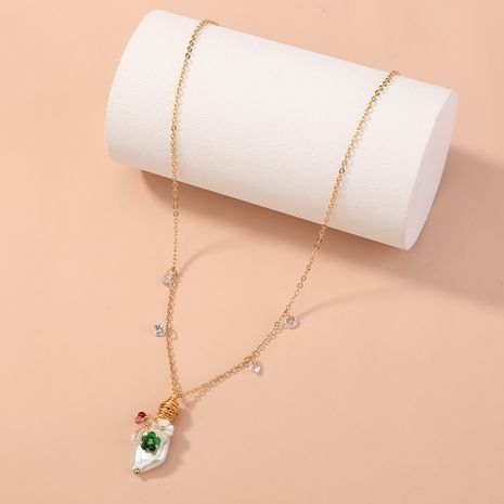 hot-selling simple and versatile special-shaped pearl multi-color natural stone pendant single-layer necklace  NHAN268799's discount tags