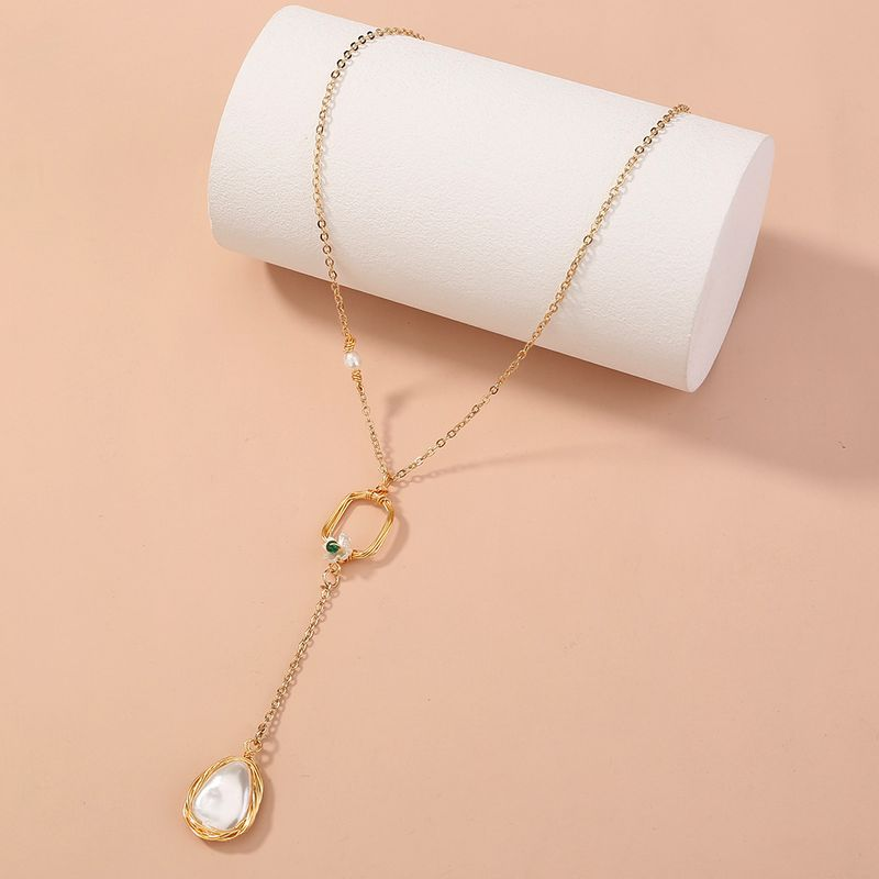handmade Chinese style retro palace pearl long pendant necklace  NHAN268801