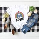 womens tops space rainbow printed cotton shortsleeved tshirt  NHSN268945