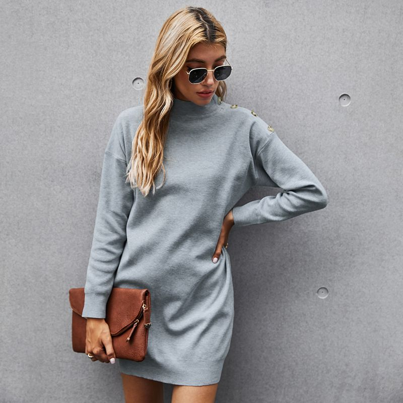 gray French short knitted pullover solid color longsleeved dress NHKA268983