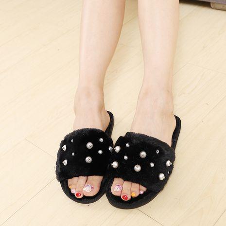 nuevas zapatillas coreanas de felpa de perlas de algodón NHPE268988's discount tags