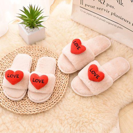 Otoño e invierno nuevas zapatillas de apertura en forma de corazón de interior coreanas lindas de felpa NHPE268996's discount tags
