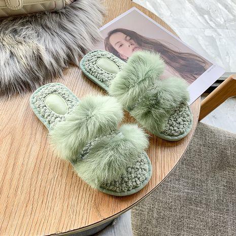 nuevas zapatillas de interior de piel de cordero de piel de conejo real NHPE269002's discount tags