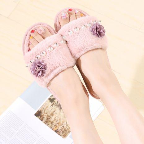 otoño e invierno nuevas zapatillas de lana cálidas de interior de algodón de felpa NHPE269004's discount tags