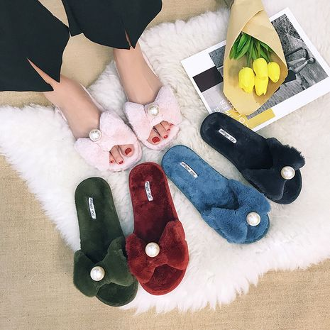 nuevas zapatillas de lana cálidas creativas de felpa de algodón para el hogar de otoño invierno NHPE269005's discount tags