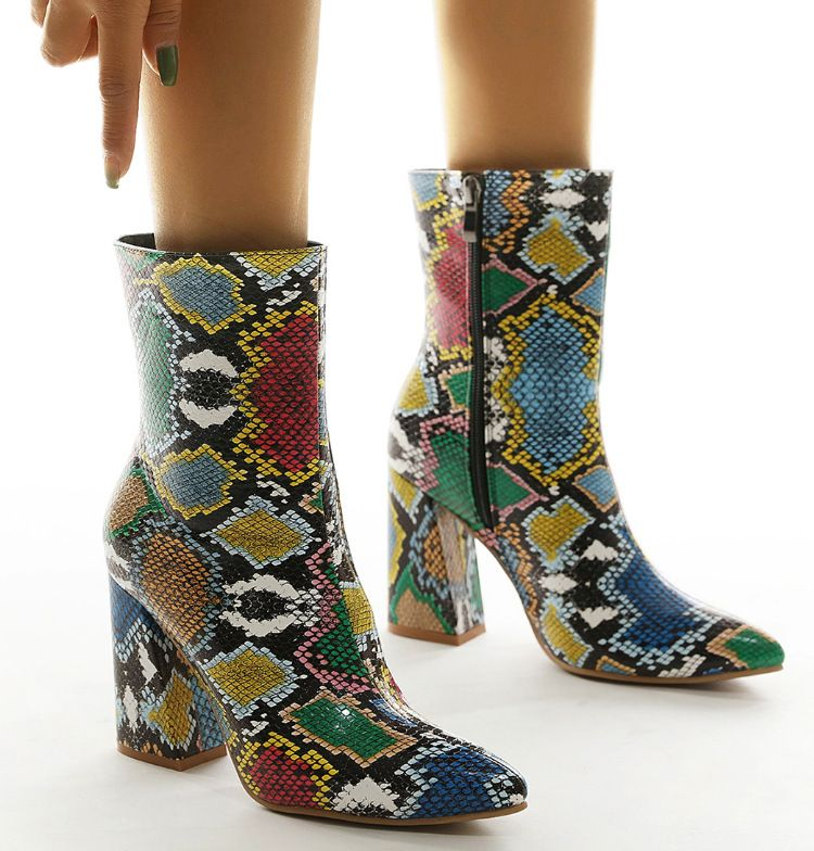 women's shoes pointed toe thick high heel colorful snake print short boots Martin boots  NHSO269018