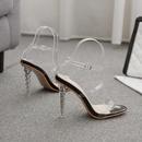 Sandalias de tacn de cristal con punta cuadrada y correa cruzada transparente de moda para mujer NHCA269045