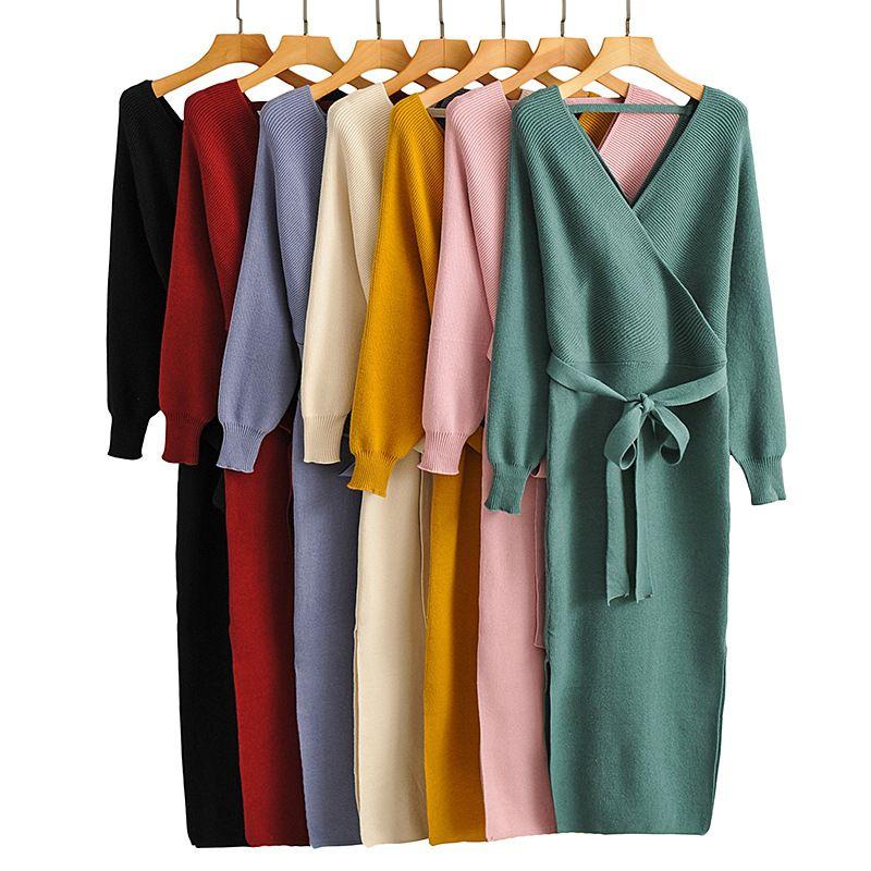 wholesale V-neck long-sleeved mid-length slit waist belted dress female  NHAM269128