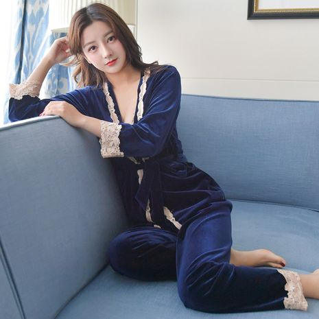 Autumn and winter Korean gold velvet three-piece sexy embroidery lace suspender pajamas trousers suit NHMR269212's discount tags