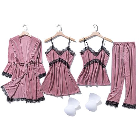 autumn and winter sexy chest pad suspenders four-piece suit Korean velvet long-sleeved pajamas  NHMR269213's discount tags