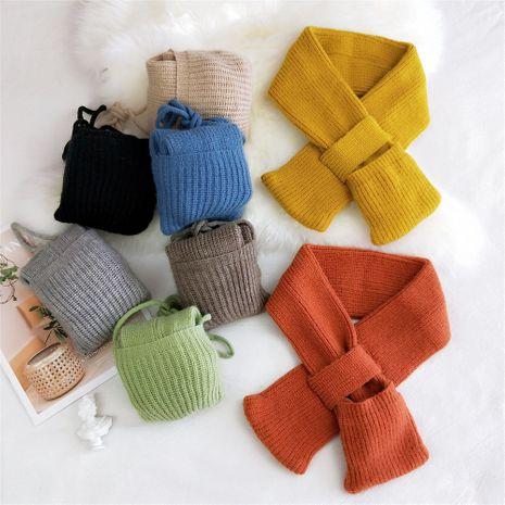 Sacs écharpe en laine tricotée à douille croisée de couleur pure NHMN269304's discount tags