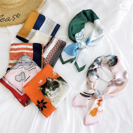 foulard en soie col sauvage petit foulard carré NHMN269315's discount tags