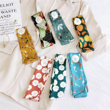 Nouveau bouton petit foulard en soie à fines rayures fines NHMN269317's discount tags