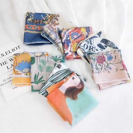 petit foulard carré en lin coton NHMN269318's discount tags