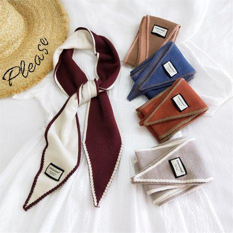 Écharpe en laine tricotée bicolore double face NHMN269322's discount tags