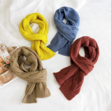 Chain stripe solid color double-sided knitted scarf  NHMN269325's discount tags