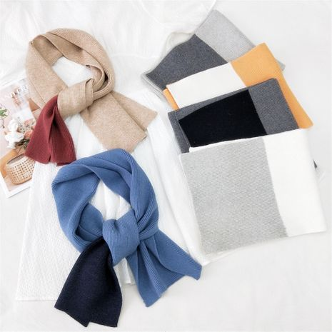 Two-color fight long knitted wool scarf  NHMN269328's discount tags