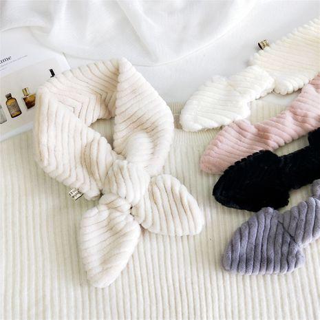 Écharpe épaissie longue couleur unie en peluche à rayures NHMN269329's discount tags