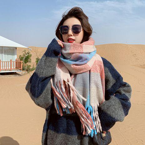 Boîte écharpe en soies peignées hiver longs couples étudiant en polyester écharpe à franges chaude NHMN269332's discount tags
