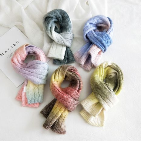 Candy-colored tie-dye knitted wool scarf winter Korean student warm scarf NHMN269333's discount tags