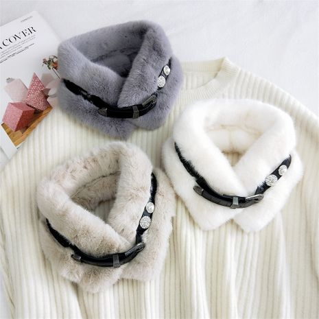 Ceinture en peluche bavoir de couleur unie automne coréen épaissie longue mode foulard doux NHMN269335's discount tags