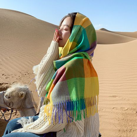 écharpe à carreaux colorée automne longue couple épaississement étudiants en polyester écharpes à pompon chaud NHMN269336's discount tags