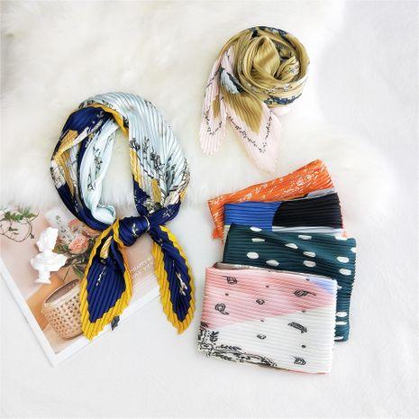 Écharpe à fleurs en crêpe pressé 70 Petite écharpe en soie d'été NHMN269341's discount tags