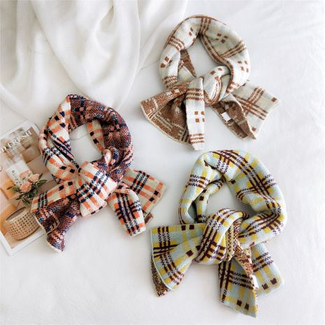 Striped plaid knitted scarf Korean autumn and winter warm shawl  NHMN269344's discount tags